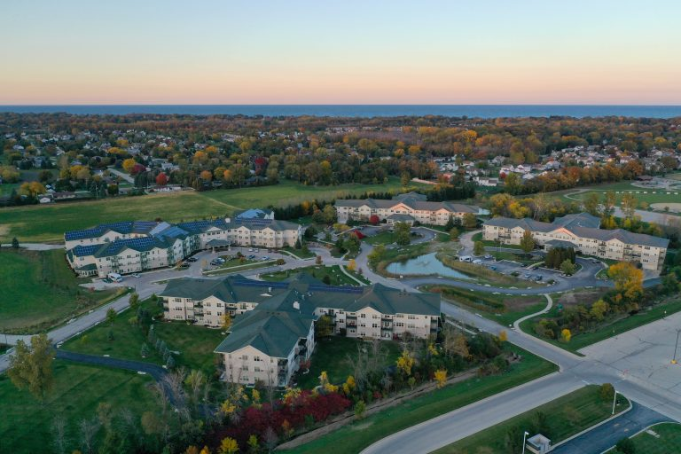 The Parkview Senior Community seen from a drone
